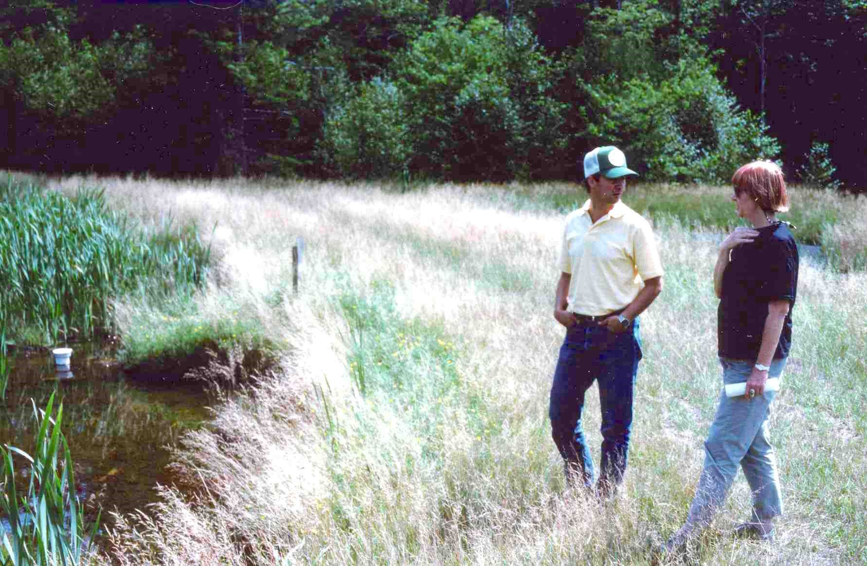 Luise Davis and Bob Hedin examining a wetland treatment system for acidic mine drainage, c.1992 (Photo by R. Brooks).